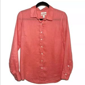 J Crew Coral Perfect Linen Button Down Shirt